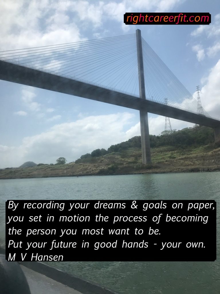 "Image of crossing the Panama canal along with a quote by M.V.Hansen ""by recording your dreams & goals on paper, you set in motion the process of becoming the person you want to be"""
